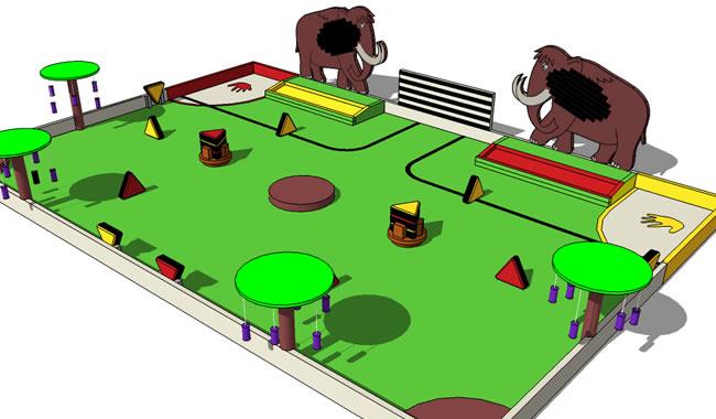 Vue de la table de jeu sur laquelle s'affrontent les robots conçus par les participants