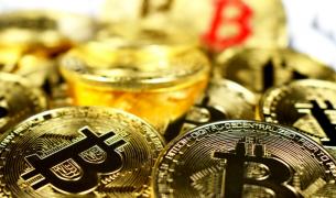 bitcoin multiple pieces closeup