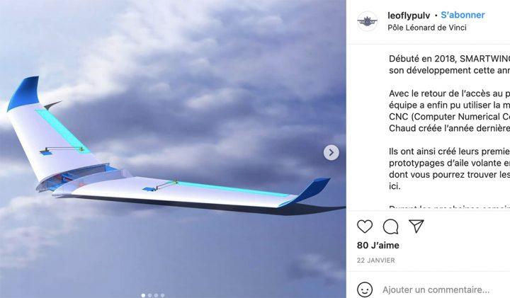 Dans le cadre des projets d'innovation ESILV, LeoFly réalise une aile volante autonome intitulée Smartwing